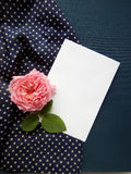 English rose and blank card for text on fabric Royalty Free Stock Photos
