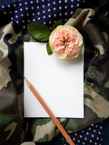 English rose and blank card for text on fabric Royalty Free Stock Images