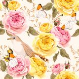 English roses and birds seamless Stock Photo