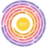 2017 english round calendar. English calendar for 2017 on spiral shaped on white background Royalty Free Stock Image