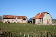 English Rural Farmhouse and Barn Stock Photo