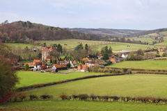 An English Rural Hamlet in Buckinghamshire. An English Winter Landscape in the Chiltern Hills in Buckinghamshire with Hamlet in the Valley Stock Photo