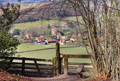 English Rural Hamlet in Oxfordshire. An English Landscape in the Chiltern Hills in Oxfordshire with Hamlet in the Valley Stock Image