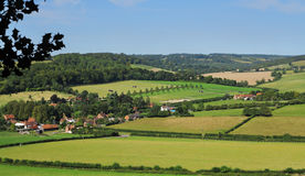 An English Rural Hamlet in Oxfordshire. An English Landscape in the Chiltern Hills in Oxfordshire with Hamlet in the Valley royalty free stock photos
