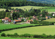 An English Rural Hamlet in Oxfordshire. An English Landscape in the Chiltern Hills in Oxfordshire with Hamlet in the Valley Stock Photos