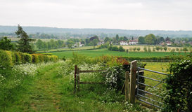 An English Rural Landscape. With footpath between fields Stock Photography