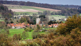 An English Rural Landscape in the Chiltern Hills. With the Village of Hambleden in the Valley Royalty Free Stock Images