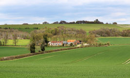 English rural landscape in the Chiltern hills with Farm in the background Royalty Free Stock Image