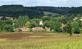 An English Rural Landscape. In the Chiltern Hills with Village of Little Missenden in the distance Stock Photos