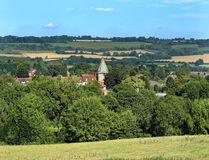 An English Rural Landscape with Town in the valley Royalty Free Stock Photos
