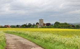 An English Rural Landscape with Village Church Royalty Free Stock Photos