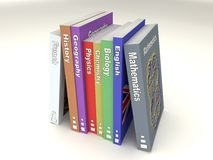 English school books line. Multi-colored english school books line of many matters royalty free illustration
