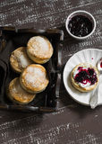 English scones for Breakfast in a vintage tray Royalty Free Stock Photography
