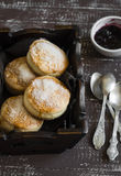 English scones for Breakfast in a vintage tray Royalty Free Stock Image