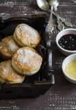 English scones for Breakfast in a vintage tray Stock Photography