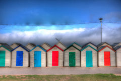 English seaside beach huts in HDR Royalty Free Stock Images