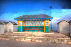 English seaside bus shelter in HDR Royalty Free Stock Photography