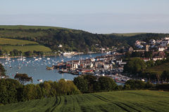 English seaside town, Salcombe. A quaint English seaside town with a harbour and sailing boats taken from an overlooking hill Stock Photography