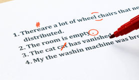 English sentences and correcting symbols on white sheet. English sentences and correcting symbols represent proofreading process Royalty Free Stock Image