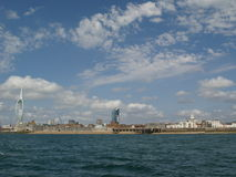 English shore. Southern shore of UK, Portsmouth, clouds, sea Royalty Free Stock Image