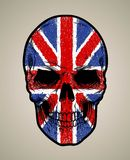 English skull face and grunge flage or texture. Print doodle vector or poster illustration Stock Images