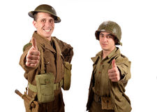An English soldier and an American soldier are OK Royalty Free Stock Photography