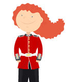 English soldier on duty. Beefeater English soldier woman stands alone on a white background Stock Photography