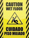 English and Spanish wet floor sign vector illustration