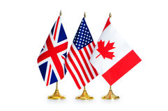 English speaking countries flags Royalty Free Stock Image