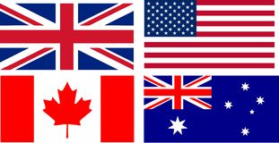 English speaking countries flags Royalty Free Stock Photos