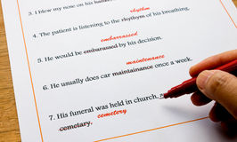 English spelling correction sheet on table Royalty Free Stock Photos