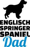 English Springer Spaniel dad silhouette. With blue word Stock Image