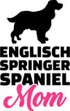 English Springer Spaniel mom silhouette. With pink word Stock Photos