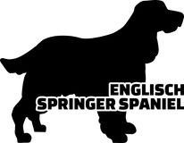 English Springer Spaniel silhouette real word. English Springer Spaniel silhouette real with word Stock Images