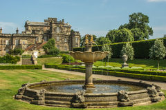 An English Stately Home. And Garden With Fountain Royalty Free Stock Images