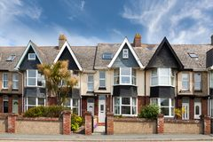 English street of terraced houses stock image