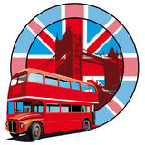 English Style. Round vignette with image of double decker bus on background English symbolism Stock Images