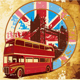 English Style grunge. Old paper background with round vignette with double decker bus on background English symbolism, executed in the limited palette Stock Images