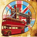 English Style grunge II. Old paper background with round vignette with double decker bus on background English symbolism, executed in the limited palette Royalty Free Stock Photo