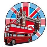 English Style II. Round vignette with image of double decker bus on background English symbolism Stock Photo
