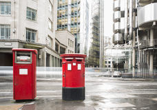 English style mailboxes. English style red mailboxes vintage buildings Stock Photography