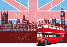 English Style Poster. Grunge background with image of double decker bus and Houses Of Parliament on background English symbolism Royalty Free Stock Image