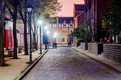English style street at night in Thames Town. Shanghai royalty free stock photo