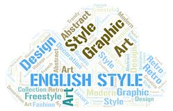 English Style word cloud. Wordcloud made with text only royalty free illustration