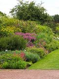 English Summer Cottage Garden Border. English cottage garden summer border with flowers Royalty Free Stock Photography