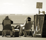 English Summer Couple. Old couple by the sea, Southend, England Royalty Free Stock Images