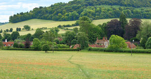 An English Summer Landscape with a Village in the Valley Stock Image
