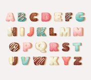 English sweet donut alphabet abc Children`s Alphabet. Alphabetical set in bakery doughnuts style. Greeting party vector font. Alphabetical set in bakery Royalty Free Illustration