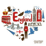 English symbols in heart shape concept Stock Photography
