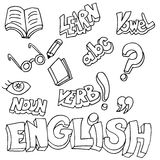 English Symbols and Learning Items. An image of English symbols and learning items Royalty Free Stock Images